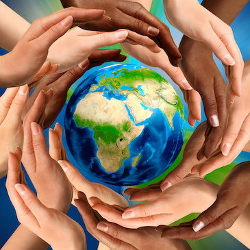 hands of love around the globe